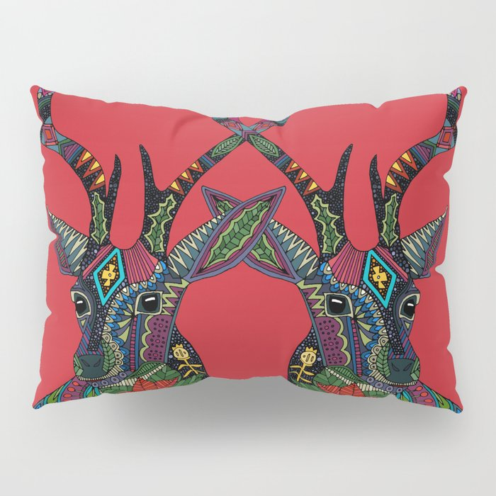 poinsettia deer red Pillow Sham