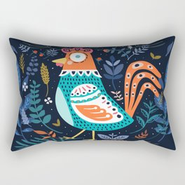 Blue flowers Chicken Roster Rectangular Pillow