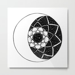 Crescent Moon Mandala Metal Print