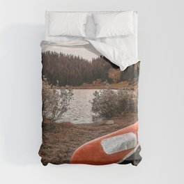 Rustic Autumn Canoe // Dusk Lit Gray Sky Pond Reflection in the Colorado Woodlands Duvet Cover