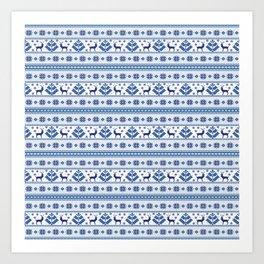 Folk Blue Art Print