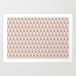 Sherwin Williams Cavern Clay Polka Dots and Circles Pattern on White Art Print