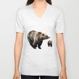Grizzly Sow and Cub Unisex V-Neck