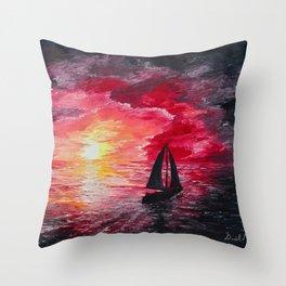 Sail Into the Sunset Throw Pillow