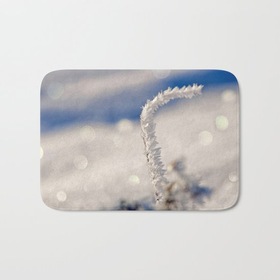 Sparkling hoar frost I Winter Snow Ice Sun Bath Mat