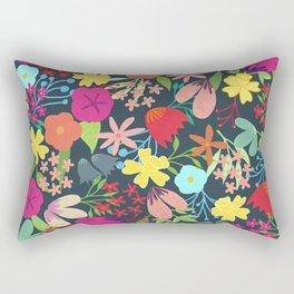 Flowers on Gray Rectangular Pillow