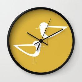 Shorebird Pair in Light Mustard and White Wall Clock
