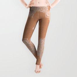Modern boho terracotta floral mandala oriental pattern Leggings