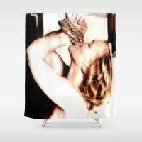 bondage Shower Curtains featuring BONDAGE BOUND by TARA SCHLAYER
