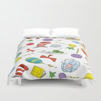 dr seuss Duvet Covers featuring dr seuss pattern..  cat in the hat, lorax, oh the places you'll go,  by studiomarshallarts