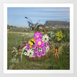 Spring basket gatherers Art Print