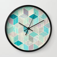bedding Wall Clocks featuring Vacation Patchwork by micklyn