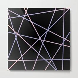 Lines 92 - in pink, purple on black Metal Print