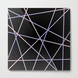 Lines 92 - in pink, purple on black Metal Print