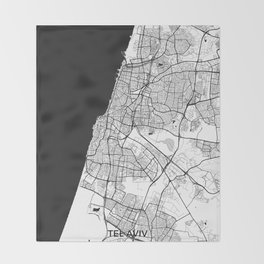 Tel Aviv Map Gray Throw Blanket