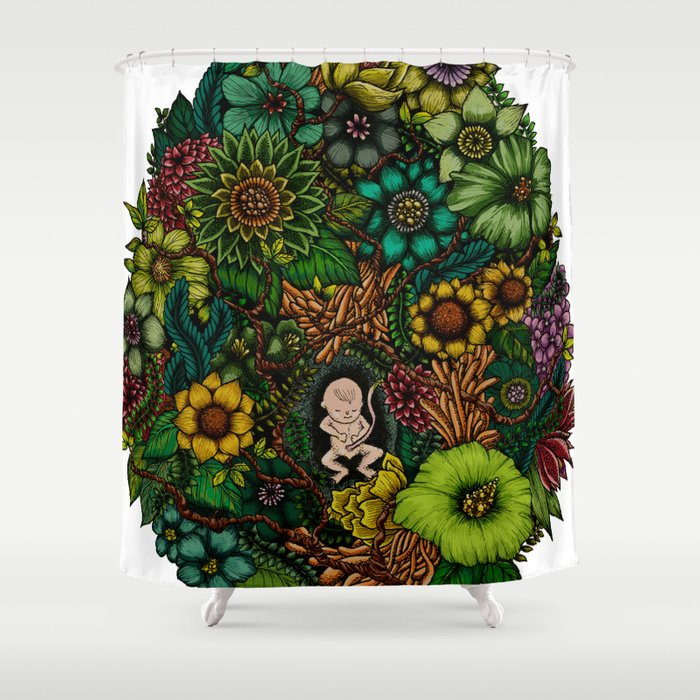 "Floral Uterus ""緑(ROKU)"" Shower Curtain"