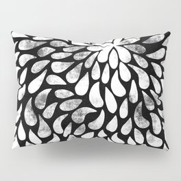 Abstract White Petals Pattern on Black Pillow Sham
