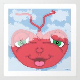 Cute Flying Red Heart Kid's Children's Cartoon Art Print