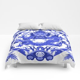 China Porcelain Inspired Smiling Dragon Comforters