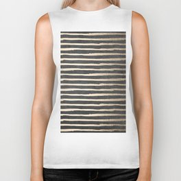 White Gold Sands Thin Stripes on Black Biker Tank