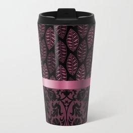 Pink Tint Skeleton Leave Pattern Travel Mug