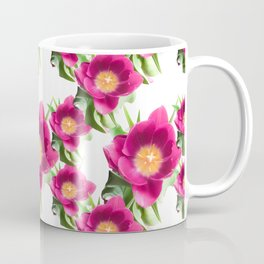 Pink Tulip Pattern, Bright Large Fuchsia Flowers With Yellow Center and Green Leaves Coffee Mug