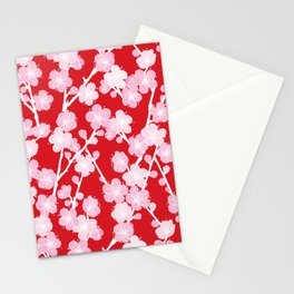 Red Cherry Blossom Pattern Stationery Cards