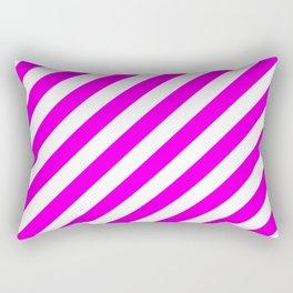 Diagonal Stripes (Magenta & White Pattern) Rectangular Pillow