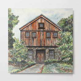 Country home watercolor Metal Print
