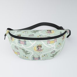 Childish seamless pattern with princess and dragon green background Fanny Pack