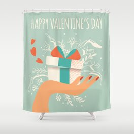 Love gift, Happy Valentine's Day 1 Shower Curtain