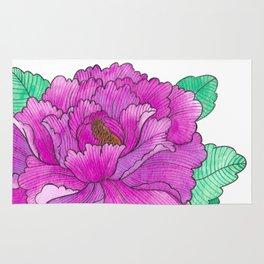Wild Peony Watercolor Rug