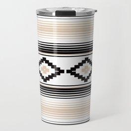 Modern Mexican Serape in Tan Travel Mug