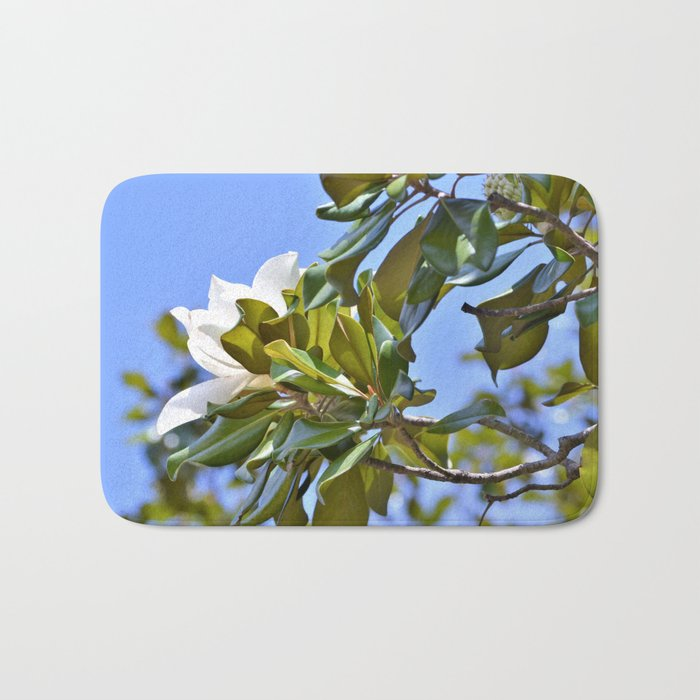 Magnolia Flower up in a Tree Bath Mat