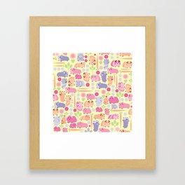Pastel Guinea Pig Vegetable Patch Framed Art Print