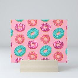 Donuts On Pink Background Cute Food Sweet Pattern Mini Art Print