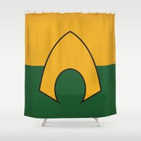 aquaman Shower Curtains featuring Aquaman Logo Minimalist Art Print DC Comics by The Retro Inc