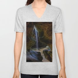 Rock House and Waterfall - Hocking Hills Unisex V-Neck
