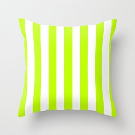 Vertical Stripes (Lime/White) Throw Pillow