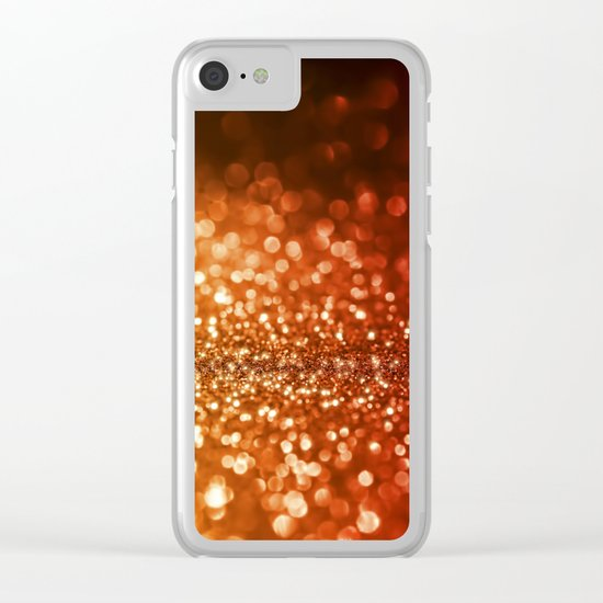 Fire and flames - Red and yellow glitter texture Clear iPhone Case