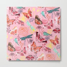 Dragonflies, Butterflies and Moths With Plants on Millennial Pink Metal Print