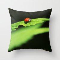 ladybug Throw Pillows featuring Ladybug by Christina Rollo
