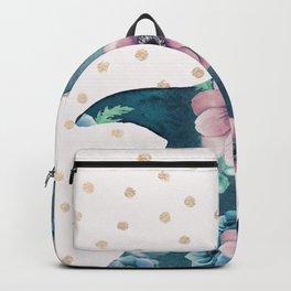 Whale Ocean Rose + Gold Polka Dot Backpack