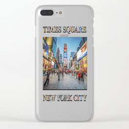 Times Square Sparkle (with typography) Clear iPhone Case
