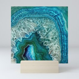 Aqua turquoise agate mineral gem stone Mini Art Print