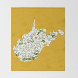 West Virginia in Flowers Throw Blanket