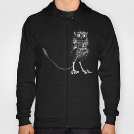 Say Cheese! | Tarsier with Vintage Camera | Black and White Hoody