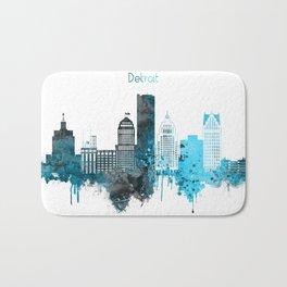 Detroit Monochrome Blue Skyline Bath Mat