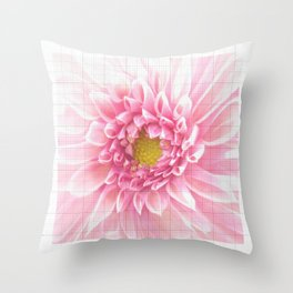EUCLID pretty bright petal pink pixelated flower with graph detail Throw Pillow