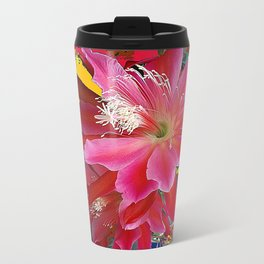 Delicate  Coral Pink Cacti Flower Tropical Art Travel Mug